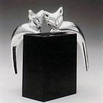 פסלון זוג חתולים מכסף